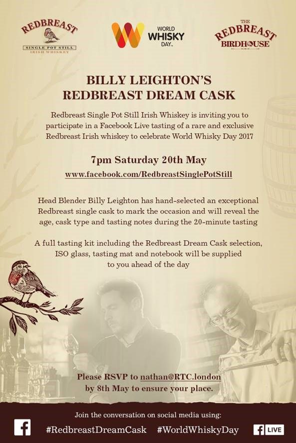 Irish Whiskey Trail Redbreast Single Cask facebook Taasting Billy Leighton